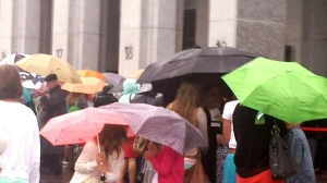 Umbrella protection at LDS Women's Conference