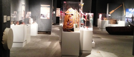 McKissick Museum at University of South Carolina - drum and dugout canoe in Native American Low Country art exhibit