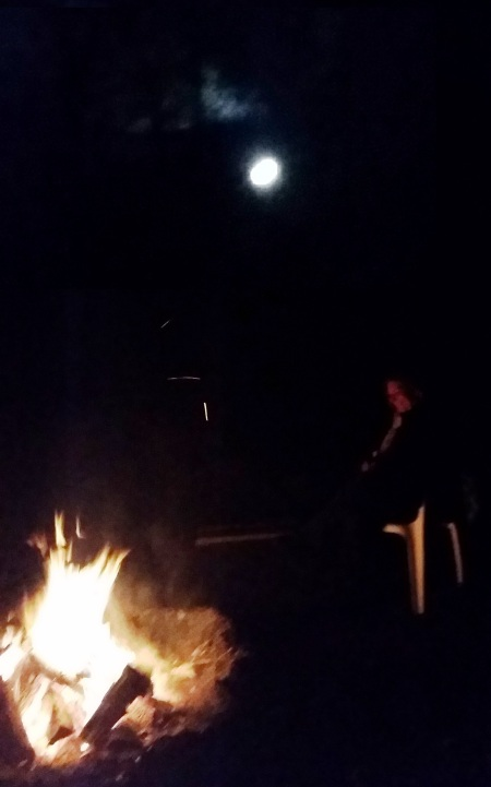 Pink full moon bonfire, Lake Winneconne, April 2016